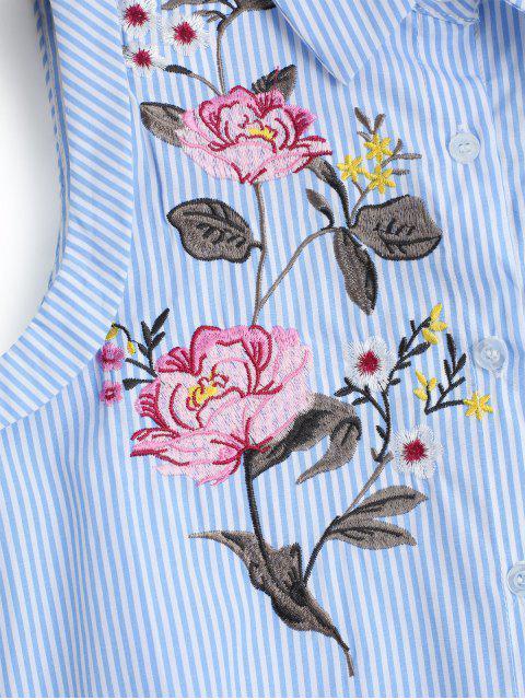 Chemise Haut-Bas Brodée Rayée sans Manches - Rayure L Mobile