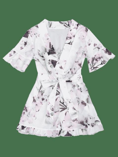 unique Plunging Neck Flare Sleeve Floral Belted Romper - FLORAL M Mobile