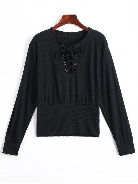 women Lace Up Long Sleeve Knitted Tee - BLACK XL Mobile