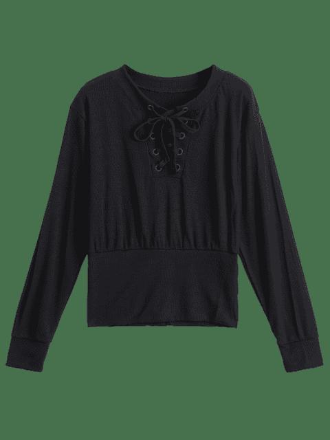 T-shirt à manches longues à manches longues - Noir XL Mobile