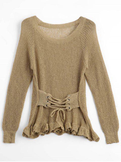 womens Sheer Ruffles Lace Up Knitwear - KHAKI ONE SIZE Mobile