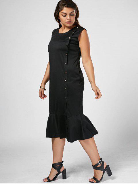 Slit Button Up Mermaid Plus Size Dress - Noir 4XL Mobile