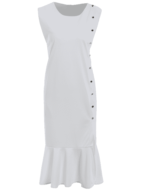 Slit Button Up Mermaid Plus Size Dress - Blanc 4XL Mobile