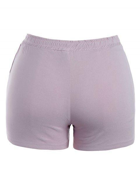 Pantalons brodés floraux décontractés - Violet Clair 4XL Mobile