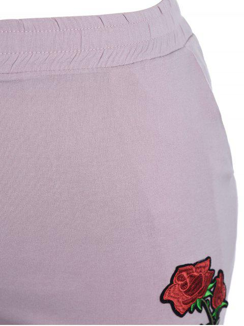 shop Casual Plus Size Floral Embroidered Shorts - LIGHT PURPLE 3XL Mobile