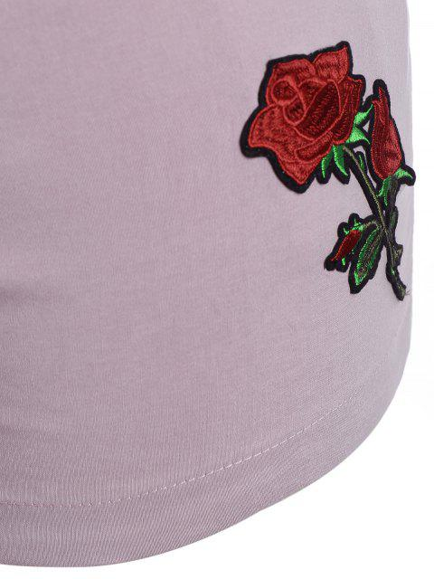 fashion Casual Plus Size Floral Embroidered Shorts - LIGHT PURPLE XL Mobile