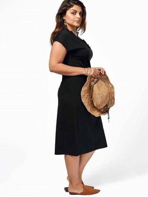 women's Plus Size Lace Trim Slit Midi Dress - BLACK 2XL Mobile