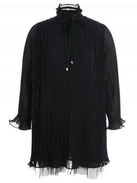 fashion Plus Size Bow Tie Ruffles Dress - BLACK 3XL Mobile