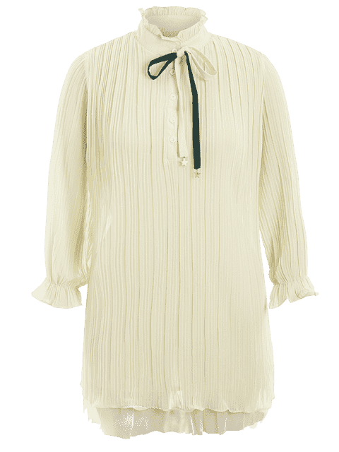 fancy Plus Size Bow Tie Ruffles Dress - LIGHT YELLOW 2XL Mobile
