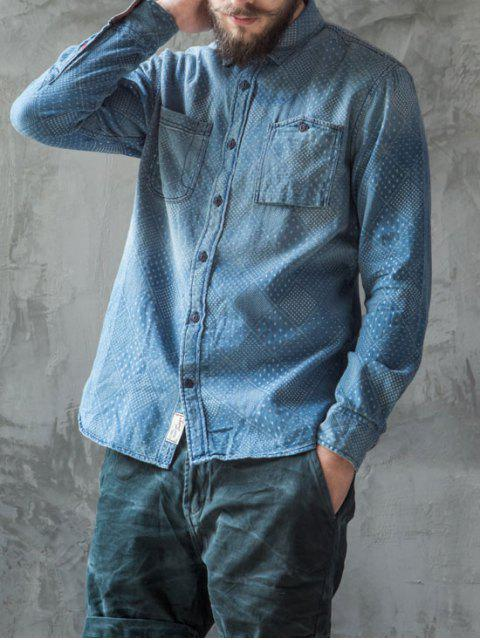 sale Mirco Patterned Washed Mens Denim Shirt - INDIGO M Mobile