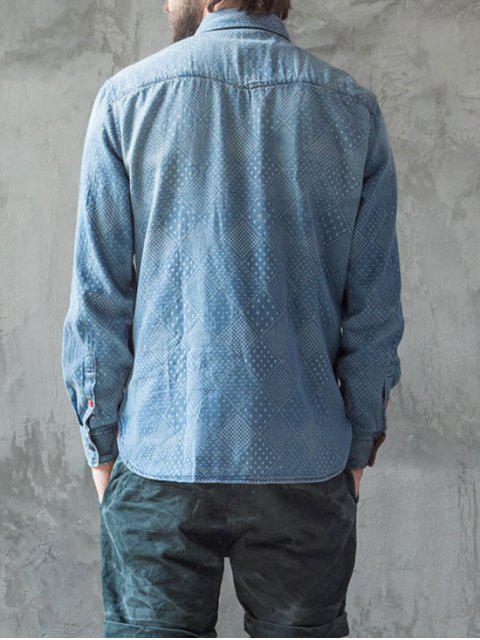 Chemise en mousseline de soie lavée avec motifs Mirco - Indigo L Mobile