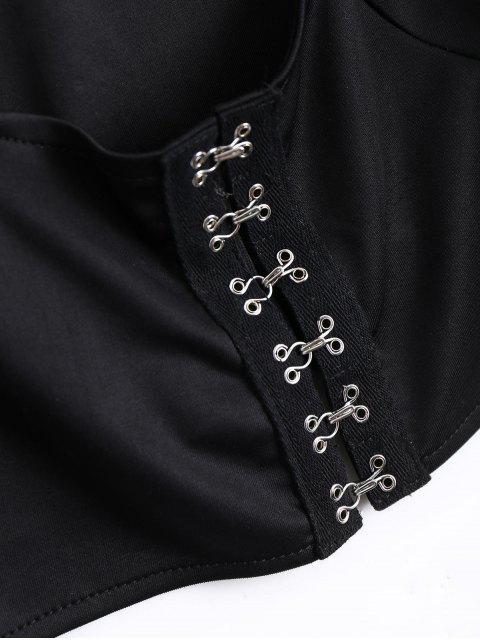 unique U Neck Organza Panel Crop Jacket - BLACK S Mobile
