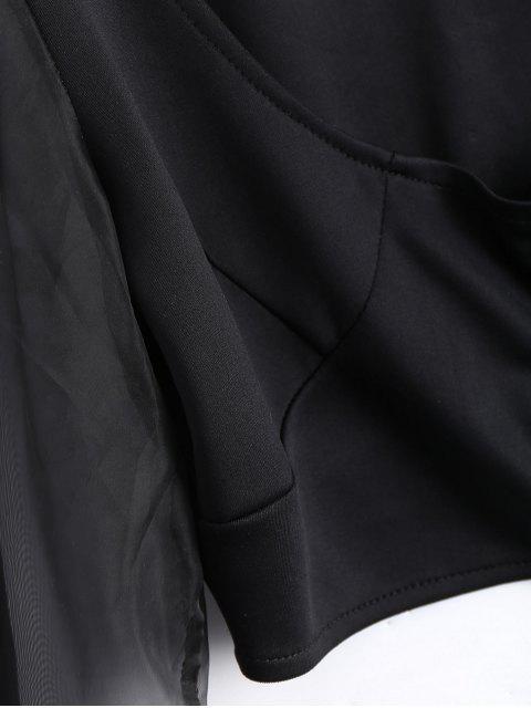 U Cou Organza Panel Crop Jacket - Noir L Mobile