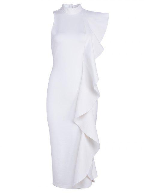 women Ruffle Hem Sleeveless Fitted Dress - WHITE S Mobile