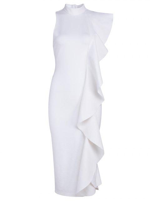 ladies Asymmetric Ruffle Prom Dress - WHITE L Mobile