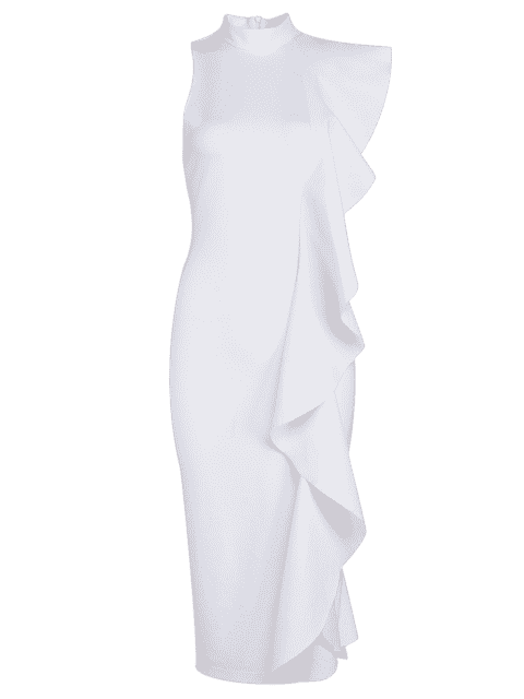 ladies Ruffle Hem Sleeveless Fitted Dress - WHITE L Mobile