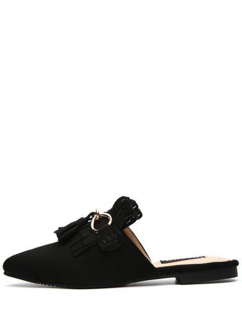 Zapatillas de tacón plano con punta de tacón - Negro 37 Mobile
