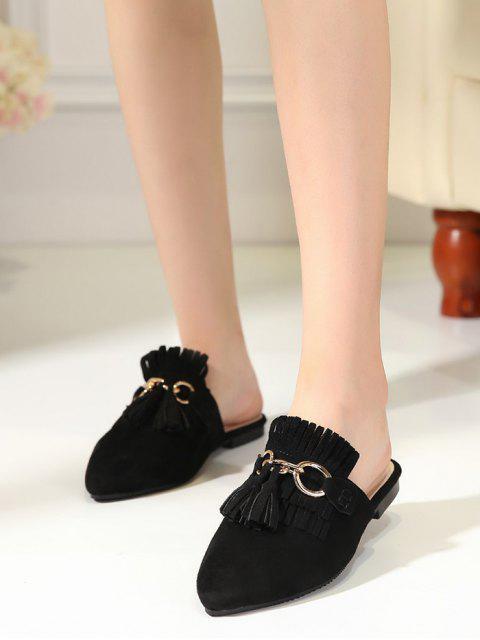 Zapatillas de tacón plano con punta de tacón - Negro 38 Mobile