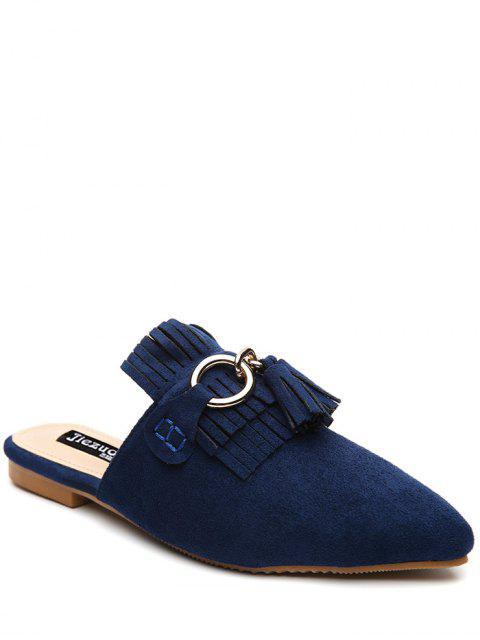 fancy Pointed Toe Flat Heel Tassels Slippers - BLUE 39 Mobile