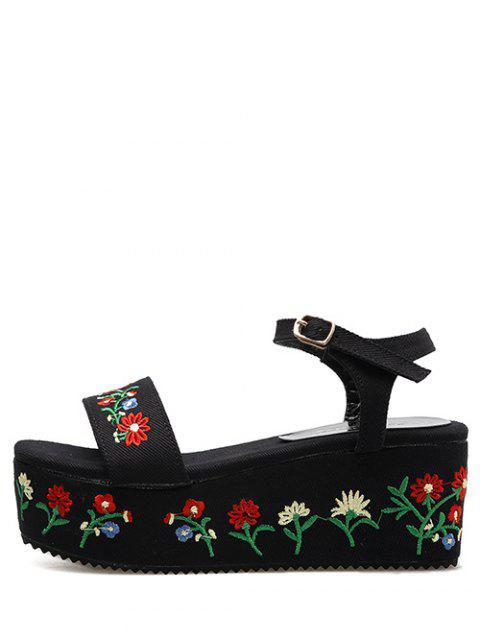 lady Denim Embroidery Platform Sandals - BLACK 37 Mobile