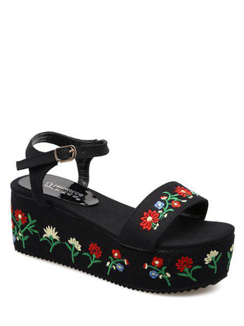 best Denim Embroidery Platform Sandals - BLACK 38 Mobile