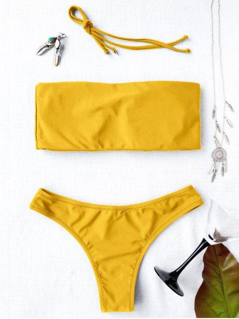 shop High Cut Bandeau Thong Bathing Suit - YELLOW S Mobile