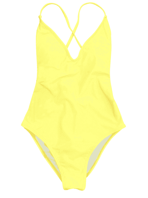 fancy V Neck High Cut One Piece Swimsuit - YELLOW S Mobile