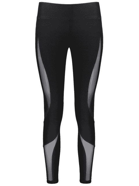 shop Workout Mesh Panel Skinny Leggings - BLACK M Mobile