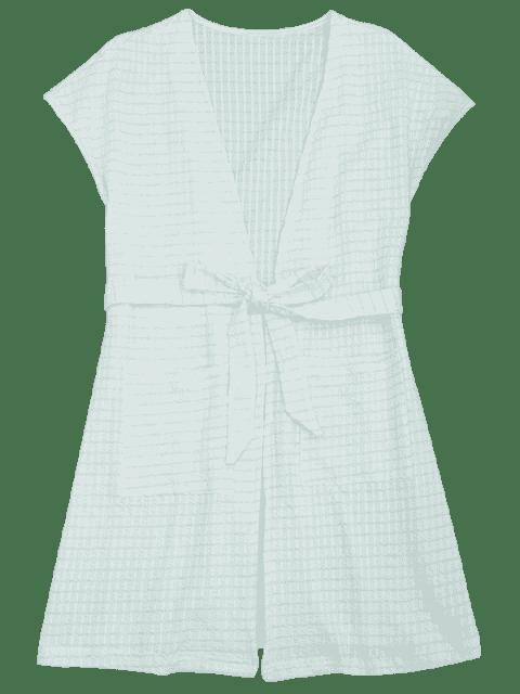 Vêtements de salle de kimono rayé à rayures - Blanc et vert M Mobile