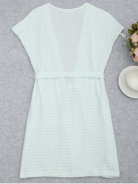 latest Belted Striped Kimono Loungewear - WHITE AND GREEN S Mobile