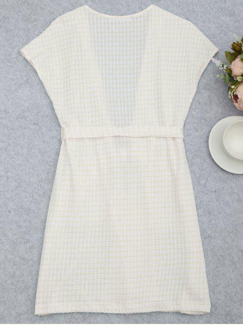 Vêtements de salle de kimono rayé à rayures - Blanc S Mobile