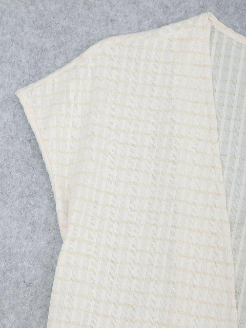 fancy Belted Striped Kimono Loungewear - WHITE S Mobile