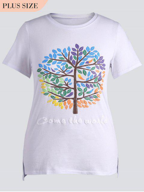 buy Plus Size Letter Embroidered Top - WHITE 4XL Mobile
