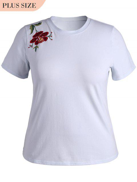 best Plus Size Floral Embroidered T-Shirt - WHITE 2XL Mobile