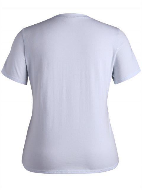 T-shirt brodé floral taille plus - Blanc XL Mobile
