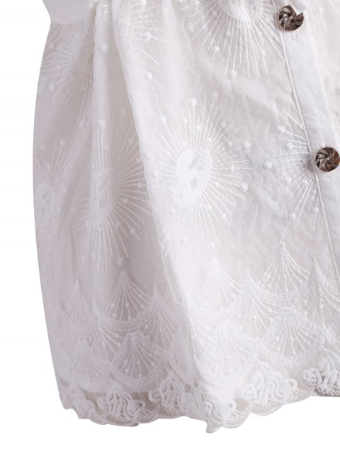 Blouson boutonnière de taille supérieure en mousse boutonnée - Blanc XL Mobile