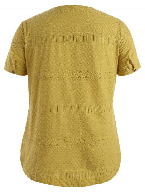 Side Button Sheer Plus Size Top - Jaune 4XL Mobile