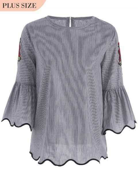 best Patched Plus Size Stripes Blouse - BLACK 2XL Mobile