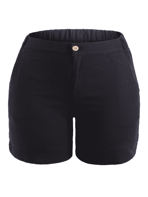 hot Plus Size High Waisted Embroidered Shorts - BLACK XL Mobile