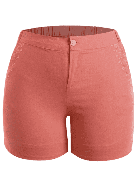 outfit Plus Size High Waisted Embroidered Shorts - ORANGEPINK 3XL Mobile