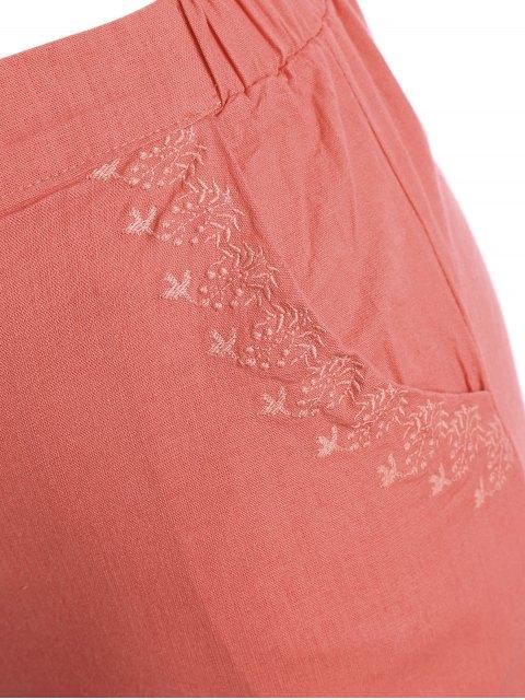 Shorts brodés haute taille taille haute - Orange Rose 3XL Mobile