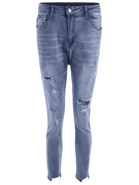 Skinny Plus Size Destroyed Pencil Jeans - Bleu 3XL Mobile