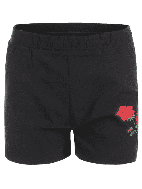 chic Casual Plus Size Floral Embroidered Shorts - BLACK XL Mobile