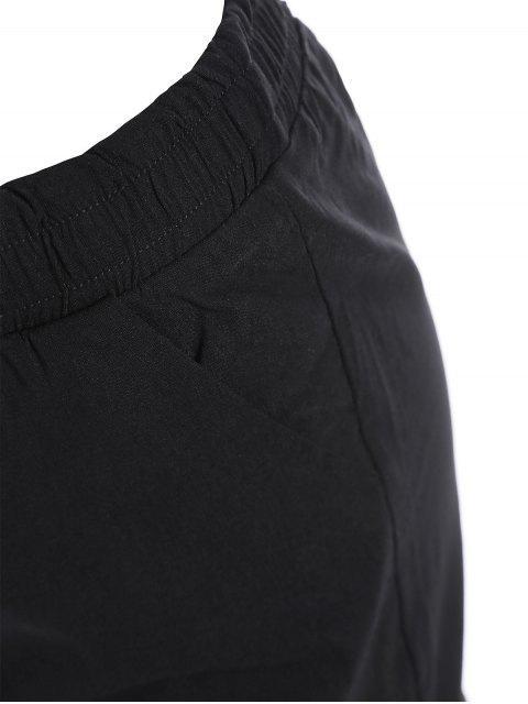 Pantalons brodés floraux décontractés - Noir 2XL Mobile