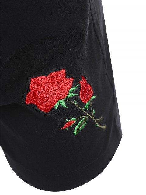 unique Casual Plus Size Floral Embroidered Shorts - BLACK 3XL Mobile