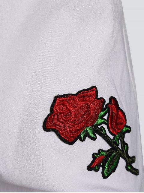 Pantalons brodés floraux décontractés - Blanc 4XL Mobile