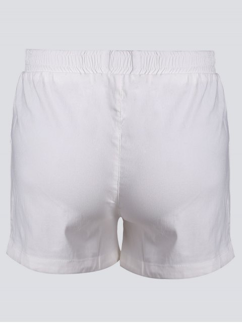 buy Casual Plus Size Floral Embroidered Shorts - WHITE 3XL Mobile