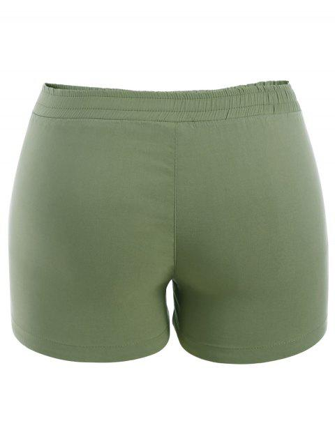 Pantalons brodés floraux décontractés - Vert clair 4XL Mobile