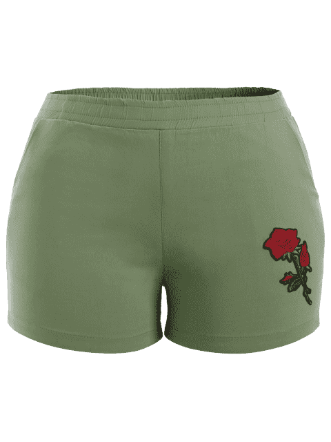 lady Casual Plus Size Floral Embroidered Shorts - LIGHT GREEN 2XL Mobile