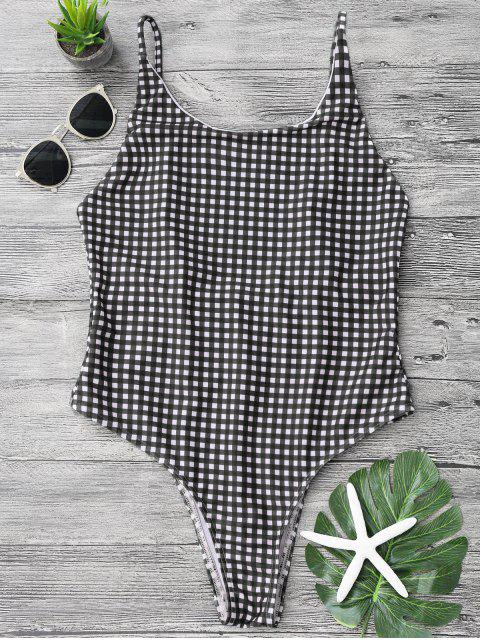 hot Open Back Gingham One Piece Swimsuit - WHITE AND BLACK S Mobile